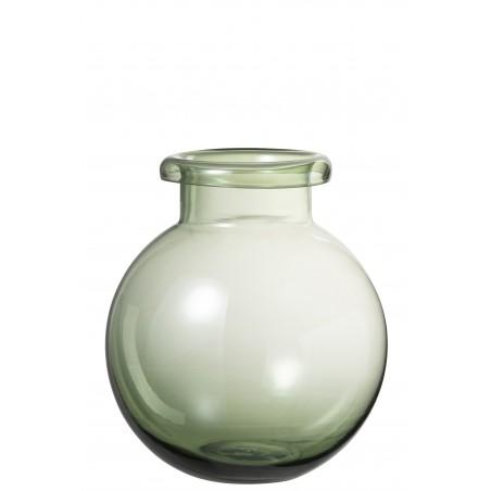 Vase boule verre vert